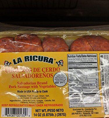La Ricura Chorizo de Cerdo Salvadorenos