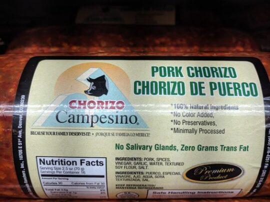 Chorizo Campesino Pork Chorizo
